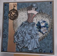 Steampunk card with kanban stamp and papers