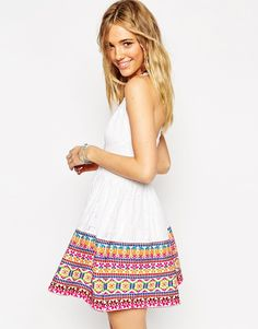 ASOS Skater Dress with Geo-Tribal Embroidered Hem