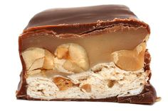 Nougat and peanut caramel covered in milk chocolate.