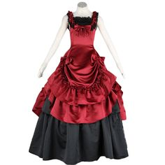 Deluxe Lolita Culture Sleeveless Bustle Red Long Dresses Cosplay Costumes
