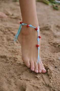 Crochet Turquoise Barefoot Sandals with red stone beads by barmine, $16.00 etsy. I could make or buy for bridesmaids bags :). Probably make much cuter