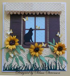 Selma's Stamping Corner: Cat in Window...luv the details: sunflowers, cat silhouette, awning, shutters, tiny butterflies...great us of the window dies!!!