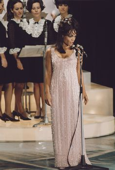American actress and singer Eartha Kitt performs live on stage at the Sanremo Music Festival in Sanremo Casino Italy in 1968