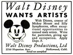 An early Disney Studios Classified Ad.
