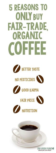 Reasons You Should ONLY Buy Fair-Trade, Organic Coffee 5 reasons to ONLY buy organic fair-trade coffee.ALSO, you will need some coffee for all those reasons to ONLY buy organic fair-trade coffee.ALSO, you will need some coffee for all those mugs! Best Organic Coffee, Fair Trade Chocolate, One Green Planet, Fair Trade Coffee, Salud Natural, Sustainable Food, Organic Living, Eating Organic, Coffee Time