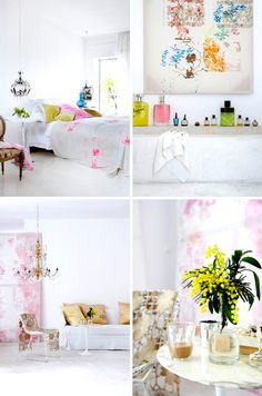 a white interior with colorful accents Pastel Interior, Colorful Interior Design, Beautiful Interior Design, Colorful Interiors, My Ideal Home, Home Garden Design, Pretty Room, Living Styles, Kid Spaces