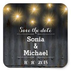 Save the date Barn Wedding Square Sticker - rustic wedding marriage love cyo