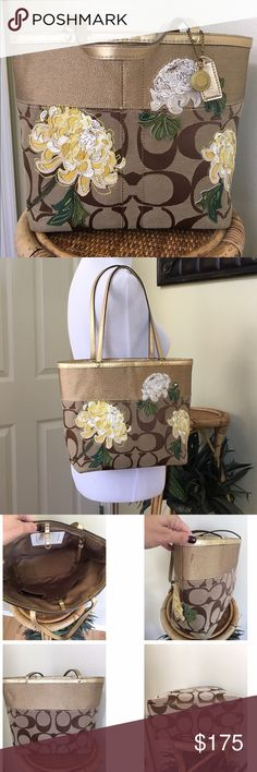 """COACH SIGNATURE FLORAL GOLD STRIPE TOTE Gently used.  This bag is in excellent condition except for one mark on the gold fabric shown in pic#3.  I have not tried to clean it.  Super clean interior no tears or rips in the fabric. Creed # A0873-12204 * Signature """"C"""" Jacquard fabric * Metallic Gold Stripe Trim * Leather floral applique * Double 19"""" straps * Brass hardware * Gold interior lining * Inside zip pocket * Multi-function cell phone pockets * D ring for accessories or keyfob * Dog…"""