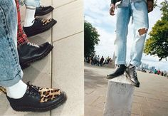 The project finds the two working on Dr. Martens' 1460 8 Eye boot and Bailey Creeper. Dr. Martens, Street Trends, Cheetah Print, Hypebeast, Streetwear Brands, Personal Style, Two By Two, Oxford Shoes, Dress Shoes