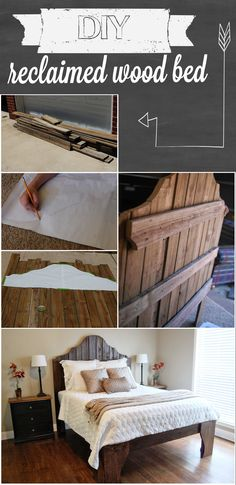 36 Easy DIY Bed Frame Projects to Upgrade Your Bedroom DIY Reclaimed Wood Bed / furniture / farmhouse / rustic / industrial The post 36 Easy DIY Bed Frame Projects to Upgrade Your Bedroom appeared first on Wood Ideas. Pallet Furniture, Furniture Projects, Home Projects, Reclaimed Wood Beds, Wood Wood, Wood Walls, Diy Bett, Diy Bed Frame, Bed Frames
