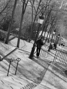 Photographic Print: Morning on the Staircase to Montmartre, Rue Foyatier, Montmartre, Paris, France by Walter Bibikow : Paris Black And White, Living Room Art, Travel Photographer, Rue, Frames On Wall, Black And White Photography, Art Photography, Around The Worlds, Montmartre Paris
