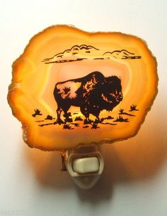 8ee45113704 Nightlight North American Buffalo Bison on Genuine Brazilian Agate Stone  New Buffalo on a Brazilian agate