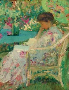 Reading in the Garden - Richard Emil Miller (1875-1943) American Impressionist Painter (2)