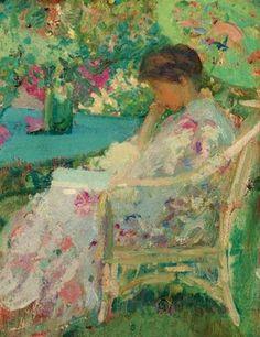 Reading in the Garden - Richard Emil Miller (1875-1943) American Impressionist Painter (2)