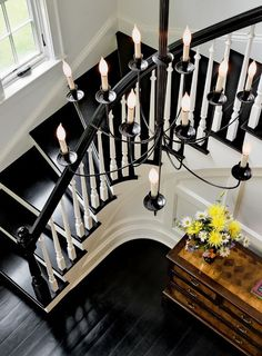 Black Floor Staircase Design Ideas, Pictures, Remodel and Decor Black Banister, Black Staircase, Banisters, Stair Treads, Curved Staircase, Staircase Design, Interior Staircase, Spiral Staircases, Grand Staircase