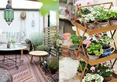 Add an outdoor rug and plant stand for decor.