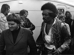 Jimi Hendrix backstage at the Love And Peace Festival on the Isle of Fehmarn, his final official concert appearance, on 6th September 1970 in Germany.