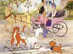 Disney Trivia must knows: horse: Frou Frou, adult cats: Thomas and Dutchess, kittens: Marie, Burlioz (dark kitten), and Toulouse (orange kitten)