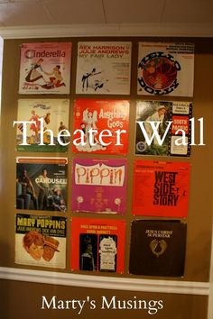 Great way to use old albums! Theater Wall Made of Vinyl Albums - Martys Musings