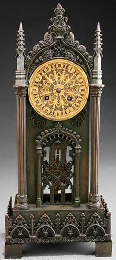 clocks & watches, France, A French Gothic patinated and gilt bronze Cathedral [mantel] clock, late 19th century,