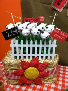 Cow cake pops , May be able to make pandas with this same basic design,