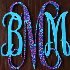 18 Inch Hand Painted Lilly Pulitzer Wooden Monogram @Ashley Walters Walters Walters Walters Lamb (: