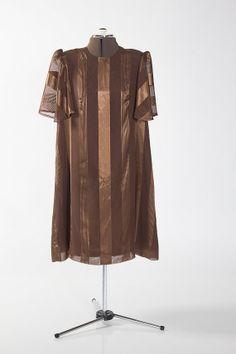 Vintage Brown Striped Dress (S-M)