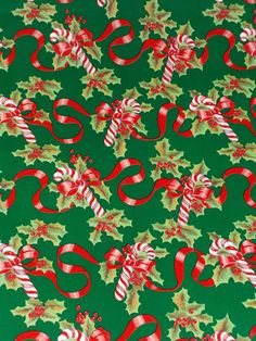 VINTAGE CHRISTMAS STORE WRAPPING PAPER CANDY CANE GIFT WRAP - 2 YARDS