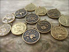 Zodiac Charms Antiqued Bronze 12 pcs by AliCsSupplyShop on Etsy, $4.00