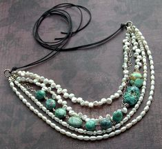 mixed freshwater pearls & turquoise