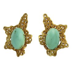 Vintage Chunky 18K Gold and Turquoise Clip Back Earrings, c. 1960s. $1750