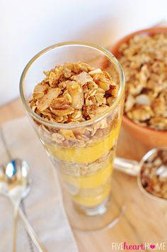 #Pumpkin Vanilla Parfaits with #Maple Cinnamon Pecan Granola  |  {Five Heart Home}