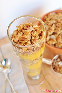 #Pumpkin Vanilla Parfaits with #Maple Cinnamon Pecan Granola     {Five Heart Home}