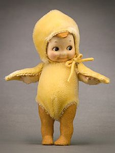 "R John Wright Dolls - Kewpie Chick®  6"", all felt, fully jointed. Removable mohair chick costume. Date of Release: 2002 Ltd. Ed. 250"