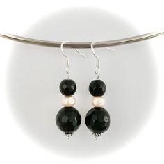 Handmade faceted black onyx & rose freshwater pearl earrings made with sterling silver hooks Gemstone Earrings, Pearl Earrings, Drop Earrings, Handmade Items, Handmade Gifts, Black Onyx, Fresh Water, Hooks, Gemstones