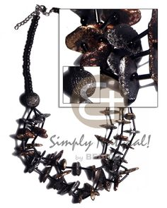 Graduated 3 Layers Coco Pokalet & Cut Beads Black Coco Chips In 2 Metallic Splashing Tones - Bronze & Silver Coco Necklace Teen Jewelry, Fashion Jewelry, Summer Fashion For Teens, Native Style, Summer Necklace, Shell Necklaces, Wholesale Jewelry, Hippie Style, Handmade Jewelry