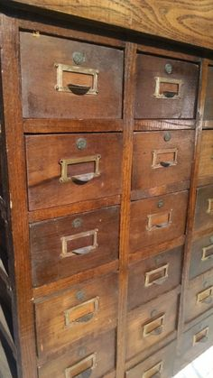 """Antique Oak 36 drawer index library apothecary cabinet catalog tool 29"""" x 38"""""""
