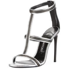 Tom Ford Zipper Caged 105mm Sandal ($1,490) ❤ liked on Polyvore featuring shoes, sandals, shoes sandals, silver, zipper shoes, cage sandals, tom ford, metallic leather shoes and leather caged sandals