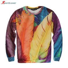 Cheap hoody pants, Buy Quality hoodie purse directly from China hoodie with cat ears Suppliers:                 Item Description   Sportlover New Beautiful colorful feather print women/men sweatshirts hoo