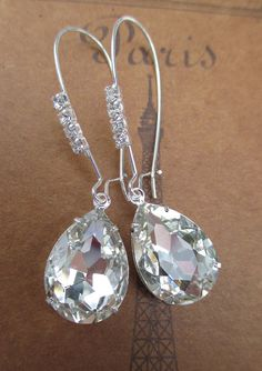 Wedding Jewelry Crystal Earrings Bride Bridesmaids Gifts Clear Rhinestone Earrings CRYSTAL CASCADE