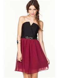 Chiffon Bustier Skater Dress W/ Stone Belt