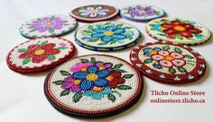 All the beaded coasters are now up on the www.onlinestore.tlicho.ca! When I spoke with Dora, she also wanted to mention that customers have framed the coasters for wall hangings.