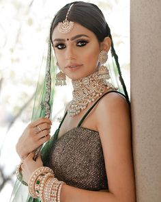 From her fine to her Suble & her Ohh soon Gorgeous Everything is on Point. Desi Wedding, Wedding Looks, Bridal Looks, Wedding Attire, Green Lehenga, Wedding Guest Style, Stylish Girl Images, Girls Image, Cute Woman