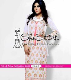 150-SUT of Mausummery Eid-ul-Azha Collection 2014 by Mausummery will give you smart look on Eid day. It consists of a shirt with front embroidered and plain back along with plain sleeves. A printed chiffon dupatta and plain fabric of trousers are available with this dress.