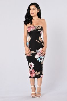 156997f774 Available in Black - Tube Dress - Floral Print - Midi Length - Rayon