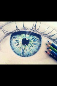 it's very easy to do you just draw and eye and with the best of your abilitys pick three colors.... draw  different lines on the eye .. try it