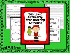 """LMN Tree: September Celebrations """"Talk Like a Pirate Day"""" Free Activity Pack Pirate Activities, Free Activities, Math Literacy, Literacy Activities, September Holidays, Making Words, Pirate Day, Classroom Freebies, Teacher Resources"""