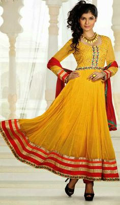 Yellow Flared Georgette Anarkali Suit Chanel your inner goddess yellow flared faux georgette Anarkali suit. Kameez features crystals enhanced beautiful yoke part and contrast patch border. #LadiesChuridarSuits #AnarkaliChuridarSuit