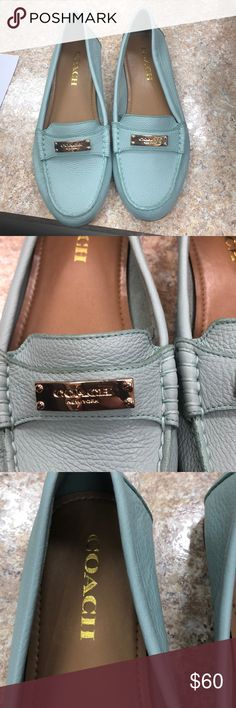 Light blue Coach flats Pebbles leather gold logo plaque never worn Make an offer Coach Shoes Flats & Loafers
