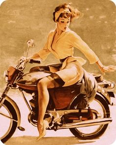 pin up, pin up girl, motorcycle, vintage, retro, art, drawing, painting, pretty…